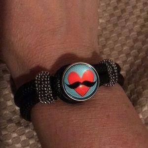 Jewelry - Black rope 1 snap bracelet- NEW!